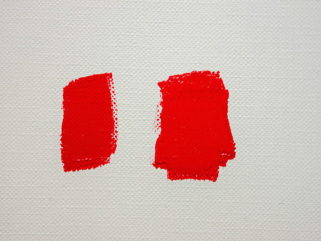 Red Paint From the Tube and Red Paint Mixed With White