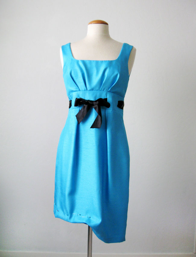 shorten hemline of blue party dress