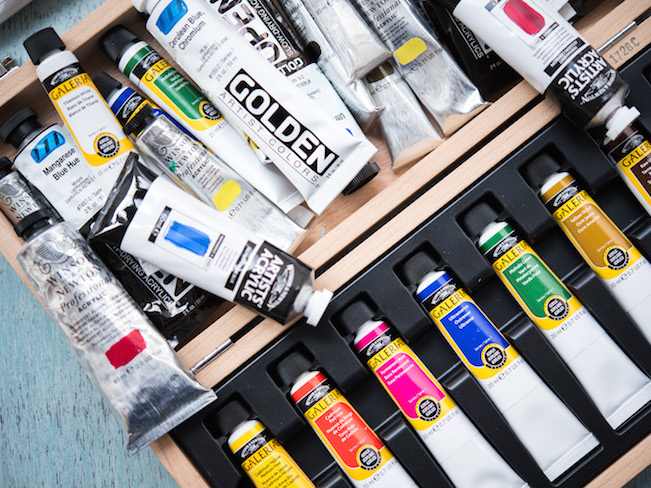two types of acrylic paint in tubes