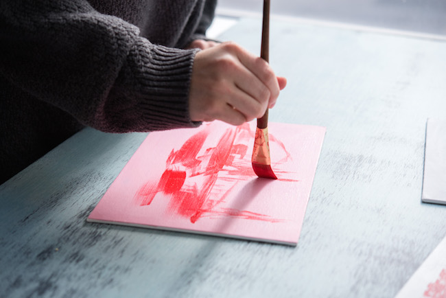 Creating an Underpainting in Red Acrylic Paint