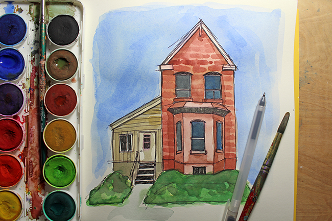 How to Add Watercolor to Urban Sketching