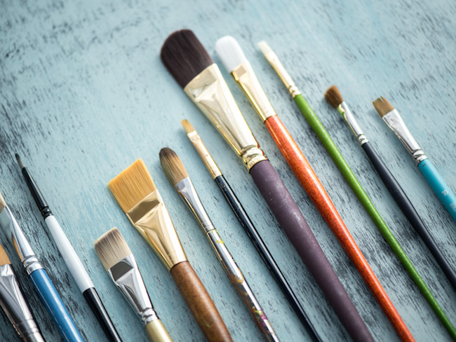 Acrylic Paint Brushes in a Variety of Shapes and Sizes