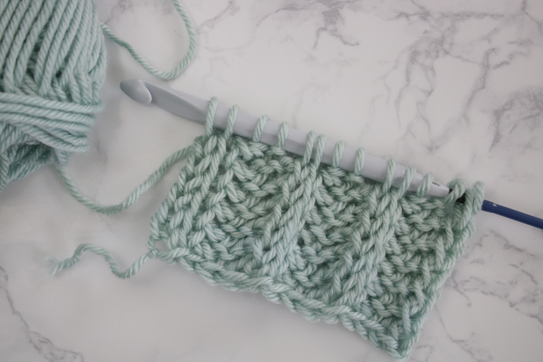 tunisian crochet ribbing swatch