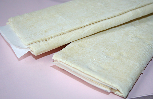 Puff pastry sheets thawing