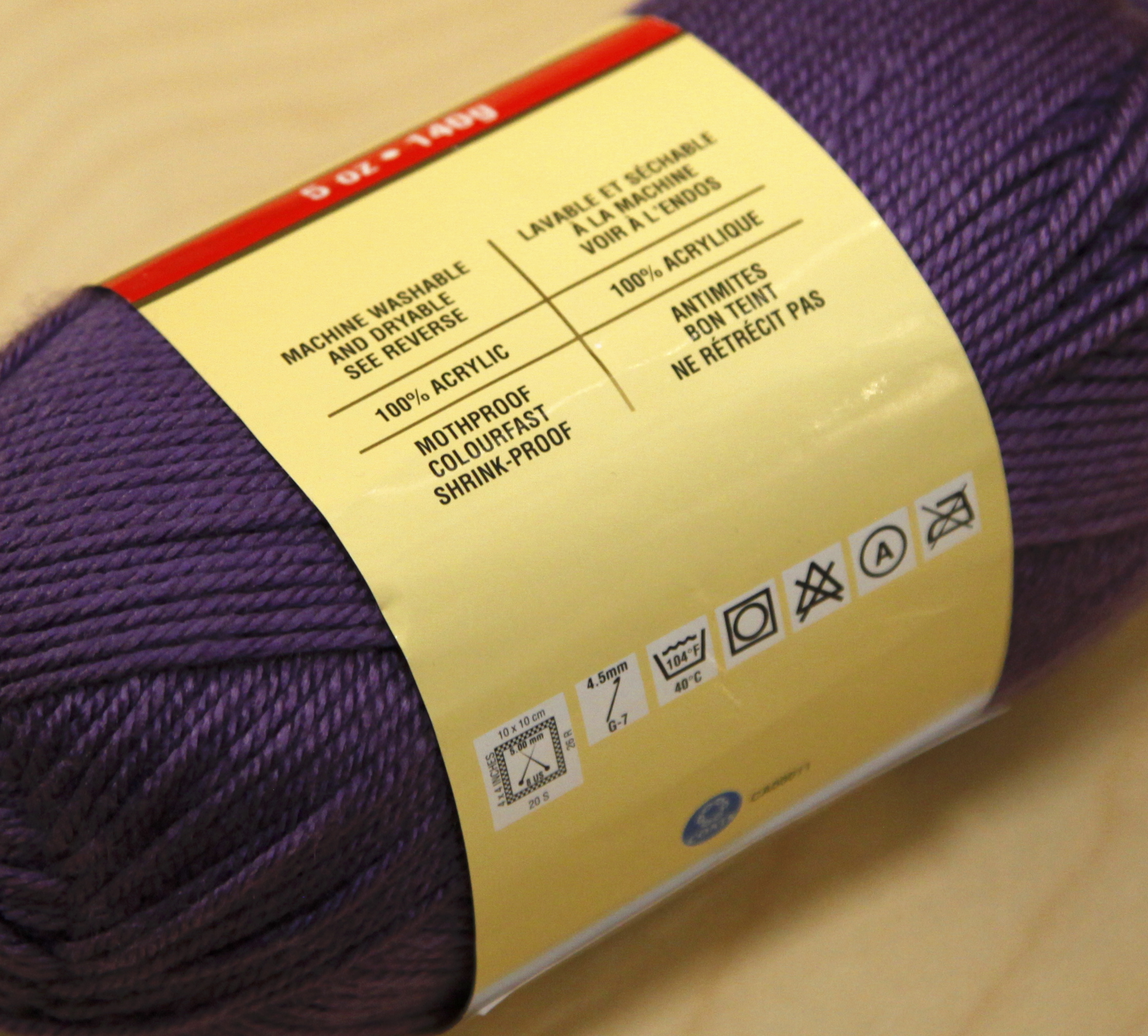 Yarn label on purple yarn
