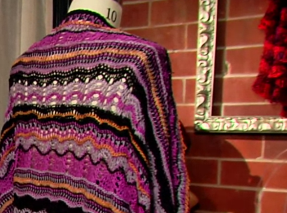 Tunisian Crochet Shawl on Mannequin
