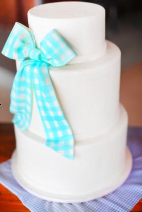 Cake Featurng Large Blue Bow - How to Make a Fondant Bow