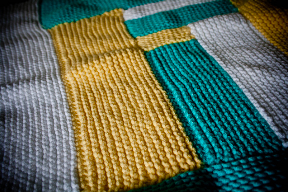 Yellow, Green and Grey Domino Knit Garment