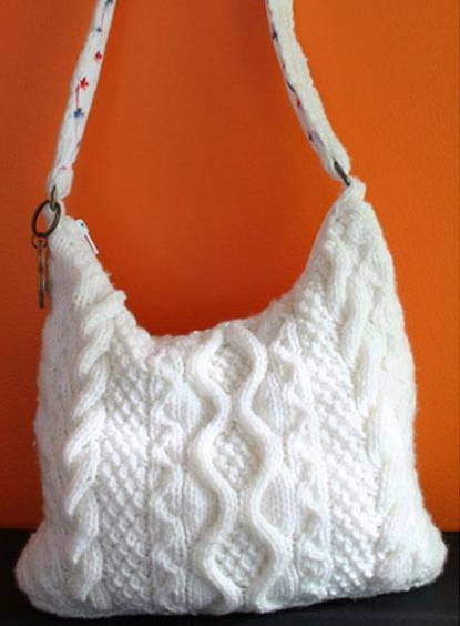knit cabled bag