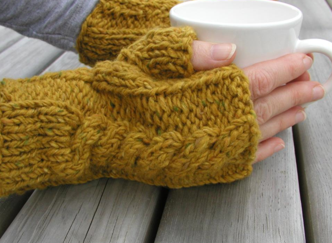 knit cabled warmers