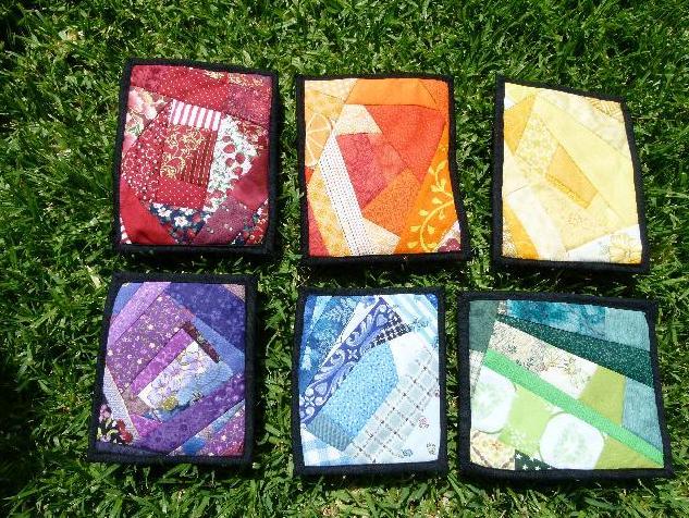 crazy quilt coasters