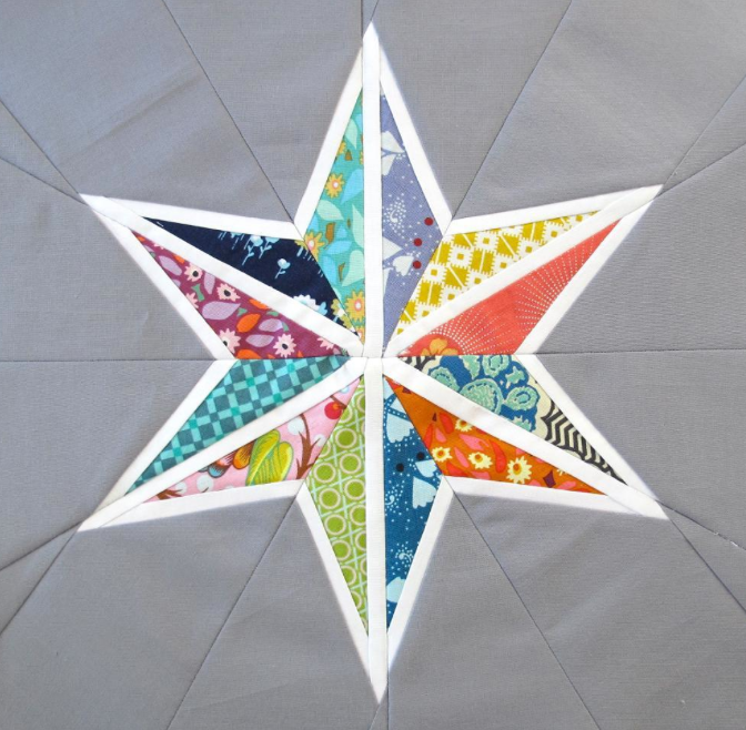 Quilt with Colorful Patterned Star