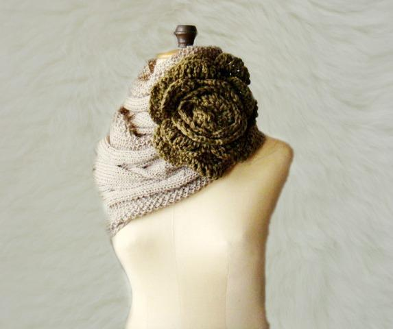 Mocca Cabled Infinity Scarf with Green Flower