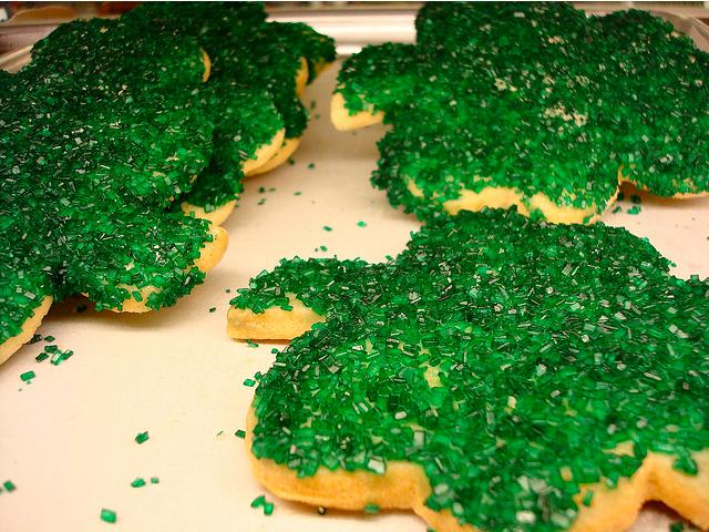 Green Sanding Sugar on Clover Cookies