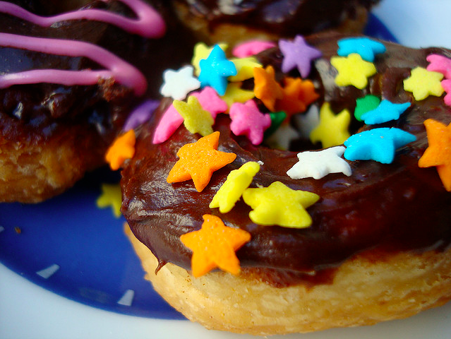 Colorful Star-Shaped Sprinkles on Doughnut