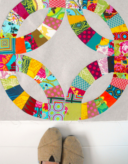 Quilt Created with Curved Piecing, Hanging on Wall