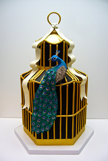 peacock cage cake