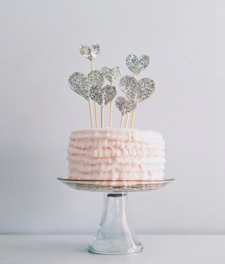 Sparkly Glitter Hearts on Pink Cake