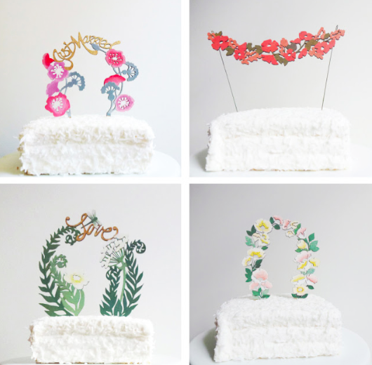 Cake Toppers on White Cakes - Paper