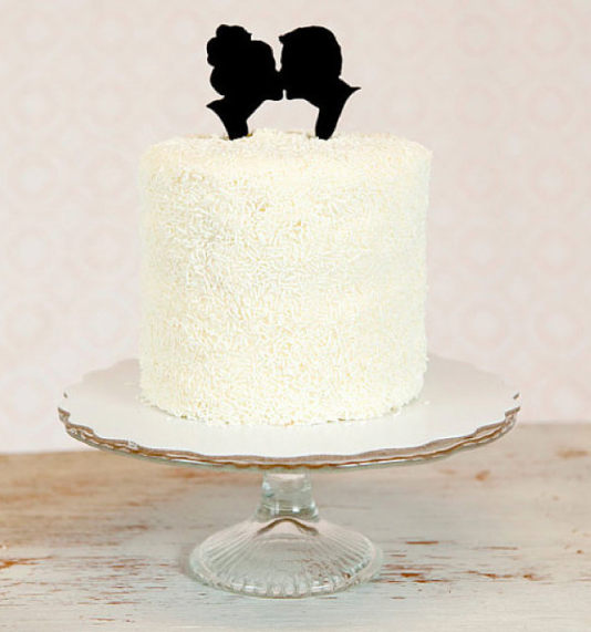 Ruffled Cake with Kissing Silhouettes Cake Topper