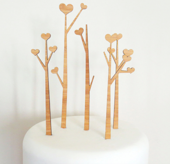 White Cake with Wooden Tree Cake Toppers