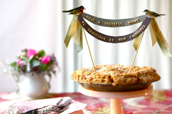 Pie with Handmade Bird-Themed Cake Toppers