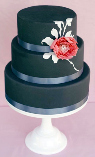 modern black tier cake
