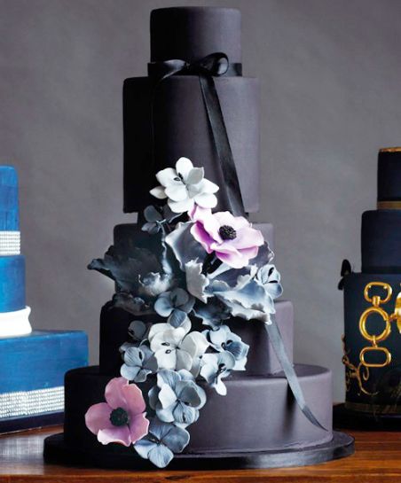 black tiered cake