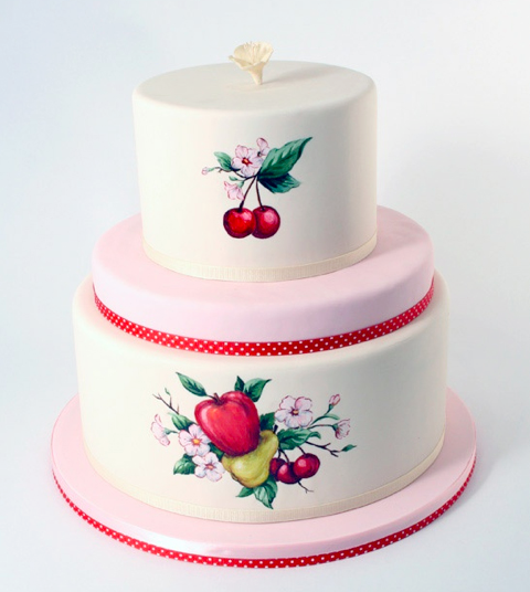Cake featuring hand-painted cherries, on craftsy