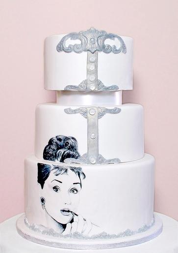 Hand-Painted Cake: Audrey Hepburn Theme