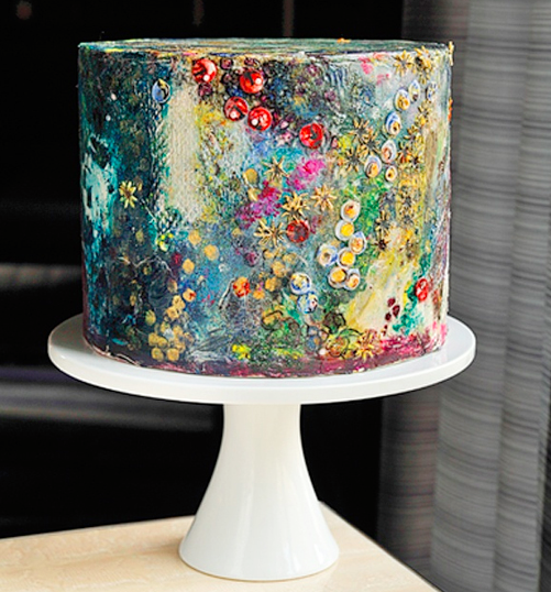 modern art: floral hand-painted cake on Craftsy