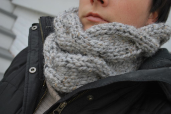 Grey Cable Double Cowl Fast Knitting Pattern