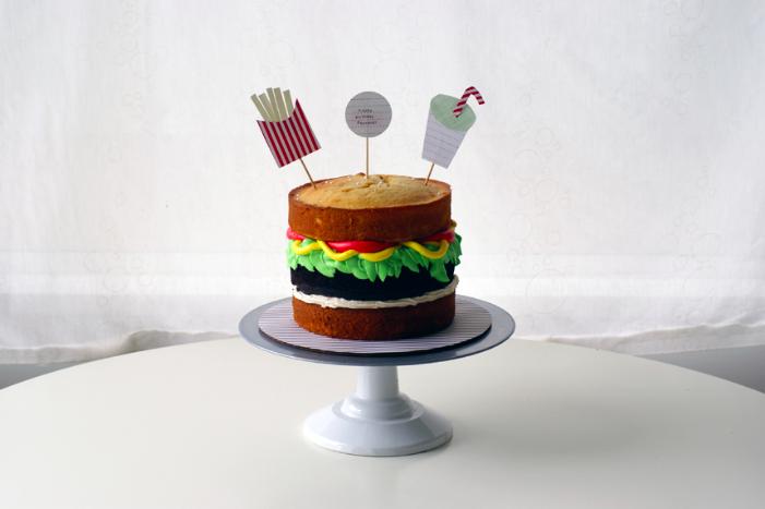 finished burger cake
