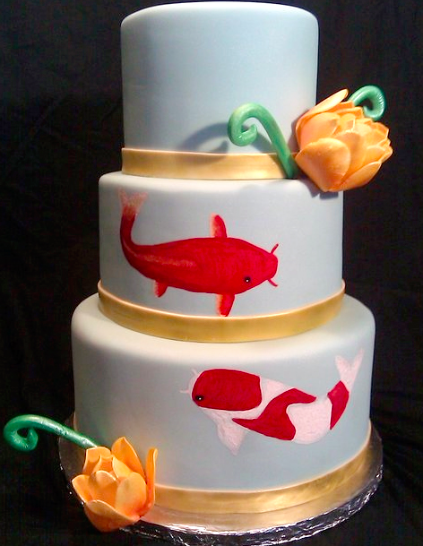 koi wedding cake