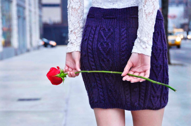 cable heart skirt