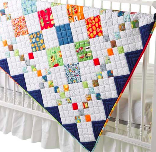 diamond-patterned quilt for baby boys