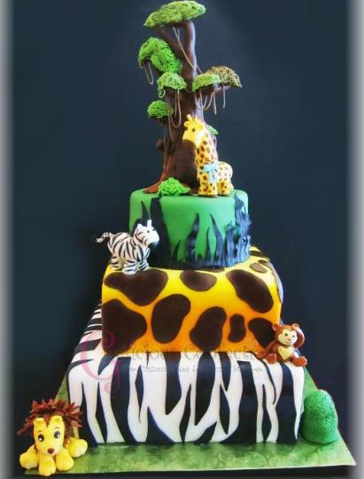 zebra safari cake