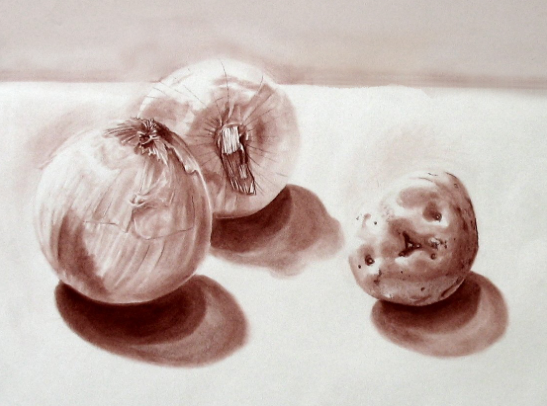 Still Life with Garlic and Potato, Even Tones
