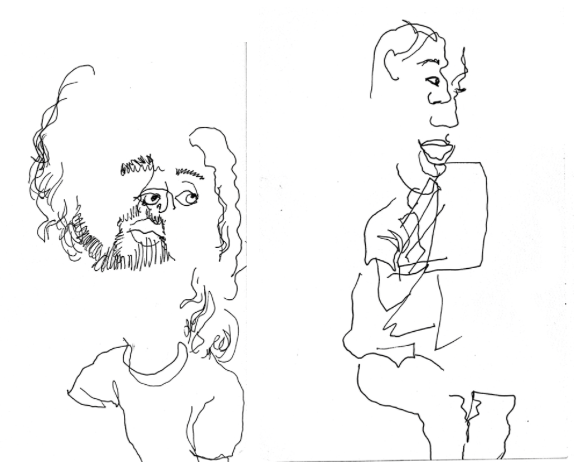 Two Abstract Drawings of Men