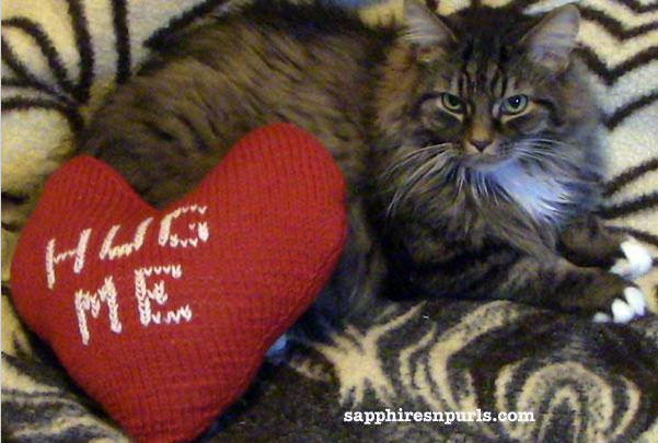 Heart-Shaped Pillow with Knit Letters, on Bluprint
