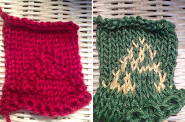 knitting letters: two swatches depicting the letter A