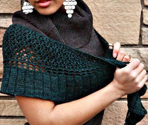 Woman Modeling Knit Shawl on Bluprint