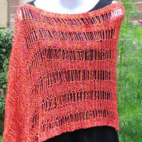 Drop Stitch Ribbon Poncho