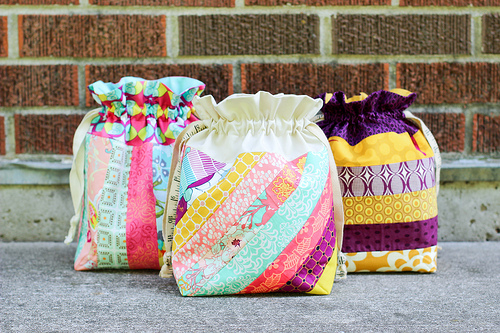 Three Vibrant Patchwork Drawstring Bags