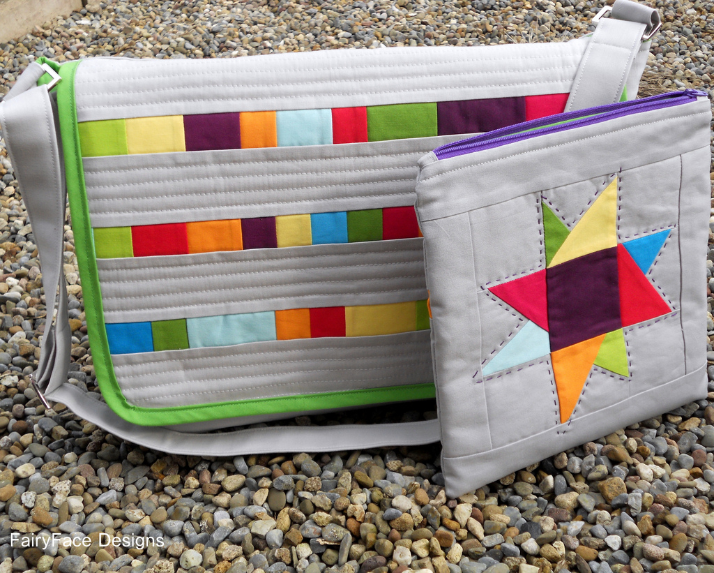 Grey Patchwork Messenger Bag and Pouch