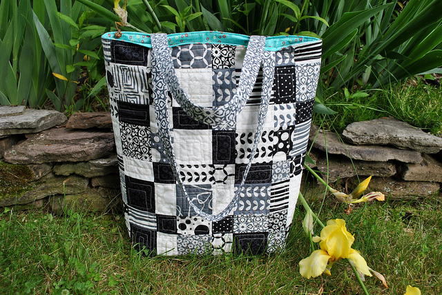 Black and White Quilted Patchwork Tote