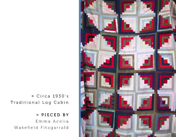 Circa 1930's Traditional Log Cabin pieced by Emma Acelia Wakefield Fitzgarrald.