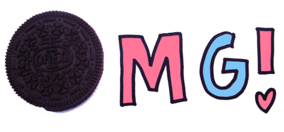 Graphic with Oreo Reading OMG!