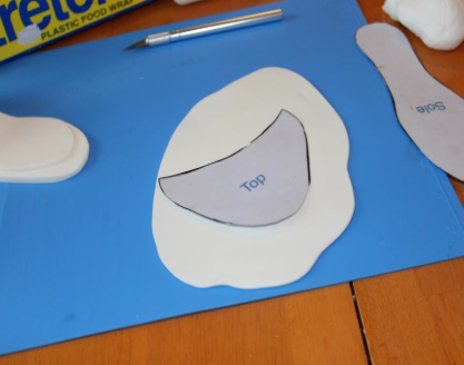 Placing Template for Top of Shoe onto Gum Paste
