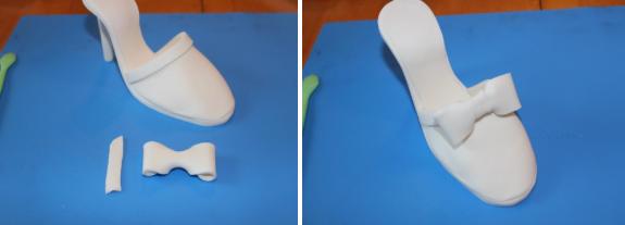 Adding Gum Paste Bow to Sugar Shoe - www.craftsy.com